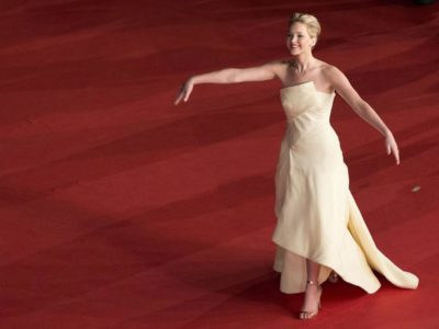 Actress Jennifer Lawrence arrives for the screening of the movie  'The Hunger Games: Catching Fire', at the 8th edition of the Rome International Film Festival in Rome, Thursday, Nov. 14, 2013. (AP Photo/Alessandra Tarantino)
